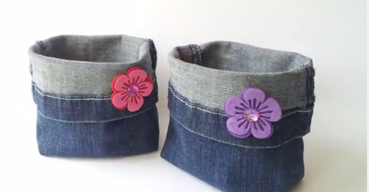 Si tienes unos viejos jeans puedes crear estas hermosas - Cestas decorativas ...