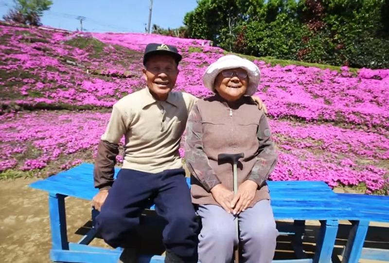 Marido y campo de flores foto 1